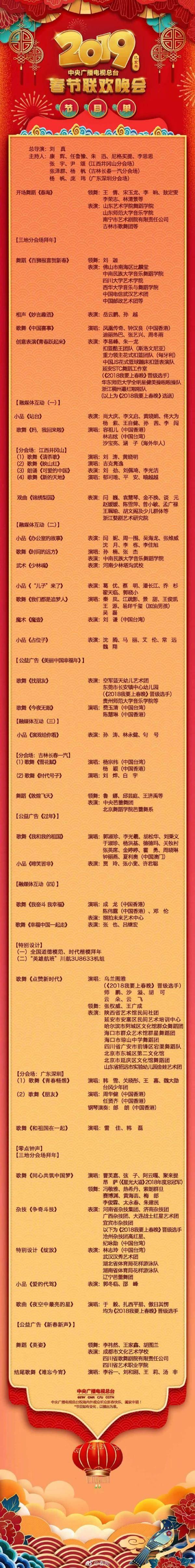 2019年央视春晚节目单来啦!